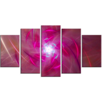 Pink Fractal Whirlpool Design Contemporary Wall Art Canvas - 5 Panels