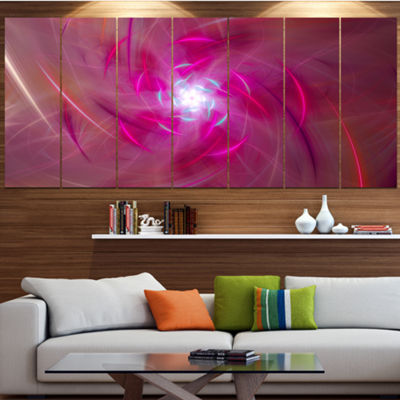 Designart Pink Fractal Whirlpool Design AbstractWall Art Canvas - 5 Panels