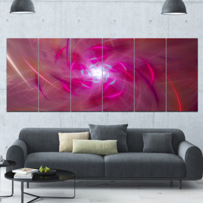 Pink Fractal Whirlpool Design Abstract Wall Art Canvas - 6 Panels