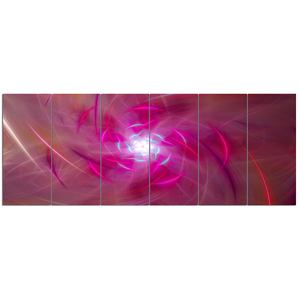 Design Art Pink Fractal Whirlpool Design AbstractWall Art Canvas - 6 Panels