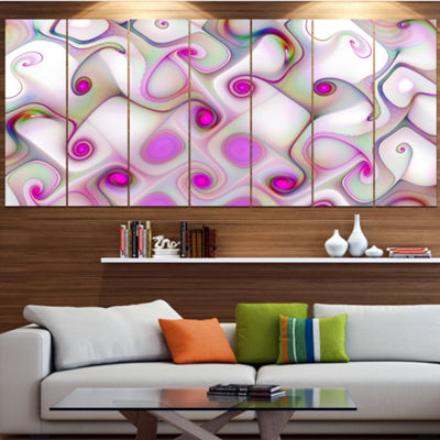 Designart Pink Fractal Pattern With Swirls Abstract Canvas Wall Art - 7 Panels