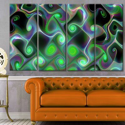 Designart Dark Green Fractal Swirls Abstract WallArt Canvas- 4 Panels