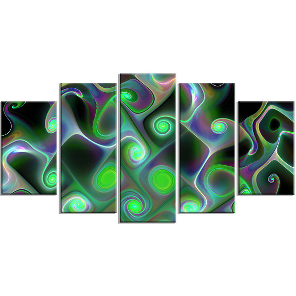Designart Dark Green Fractal Swirls ContemporaryWall Art Canvas - 5 Panels