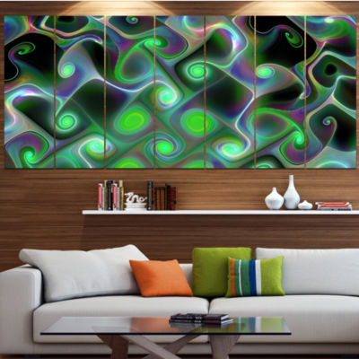 Designart Dark Green Fractal Swirls Abstract WallArt Canvas- 7 Panels