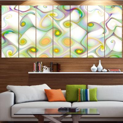 Beautiful Fractal Pattern With Swirls Abstract Wall Art Canvas - 5 Panels