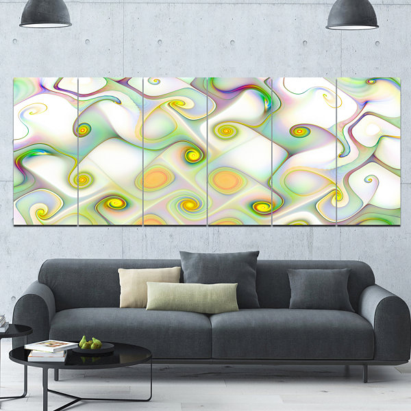 Designart Beautiful Fractal Pattern With Swirls Abstract Wall Art Canvas - 6 Panels