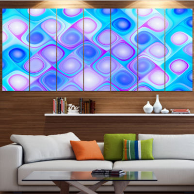 Designart Dense Blue Pattern With Swirls AbstractWall Art Canvas - 4 Panels