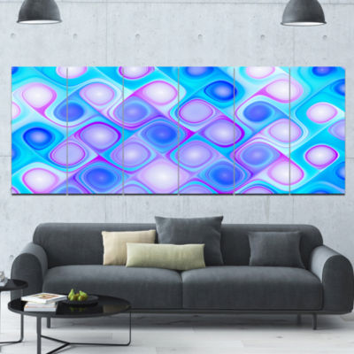Dense Blue Pattern With Swirls Abstract Wall Art Canvas - 6 Panels