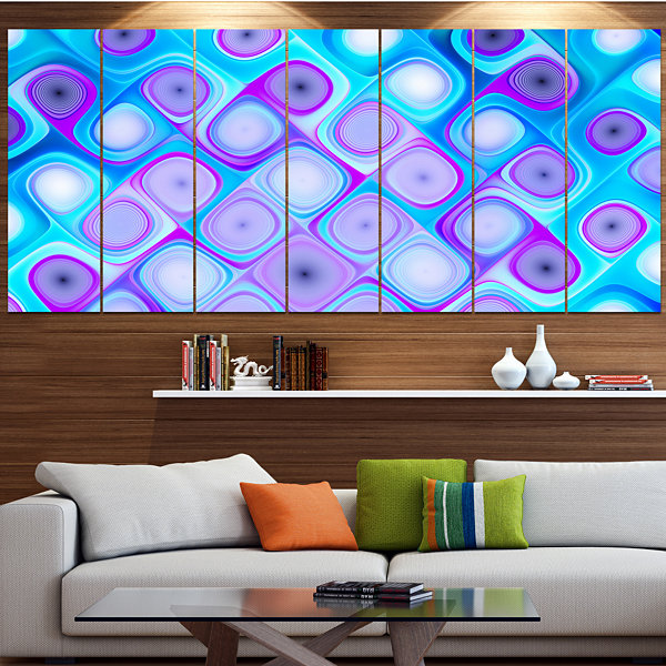 Design Art Blue Purple Pattern With Swirls Abstract Wall ArtCanvas - 4 Panels