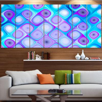 Designart Blue Purple Pattern With Swirls Contemporary Wall Art Canvas - 5 Panels