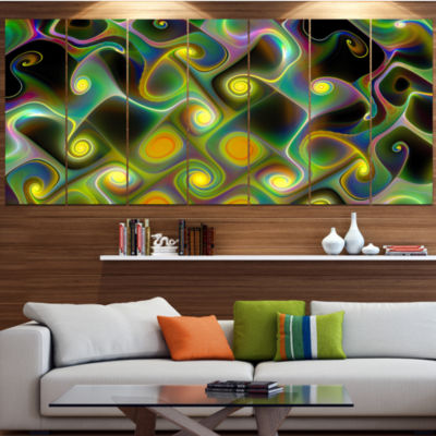 Yellow Fractal Pattern With Swirls Abstract Wall Art Canvas - 6 Panels
