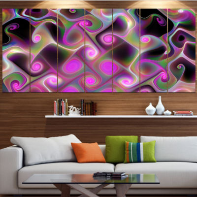 Design Art Pink Fractal Pattern With Swirls Abstract Wall Art Canvas - 4 Panels