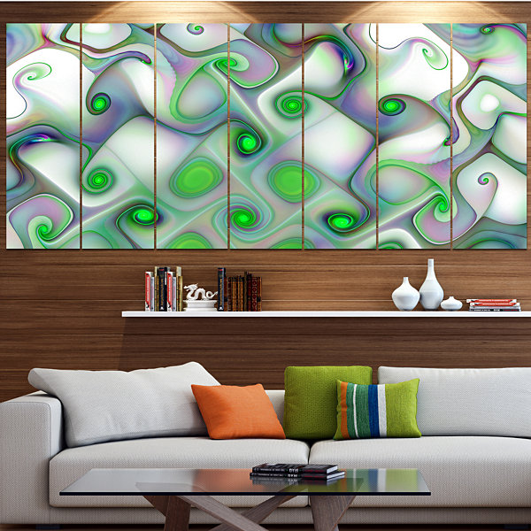 Designart White Green Pattern With Swirls AbstractWall Art Canvas - 4 Panels