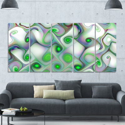 Designart White Green Pattern With Swirls AbstractWall Art Canvas - 5 Panels