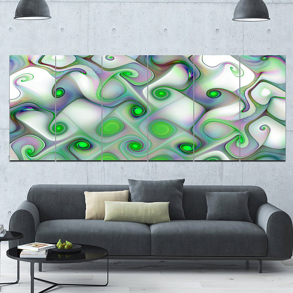 Designart White Green Pattern With Swirls AbstractWall Art Canvas - 6 Panels