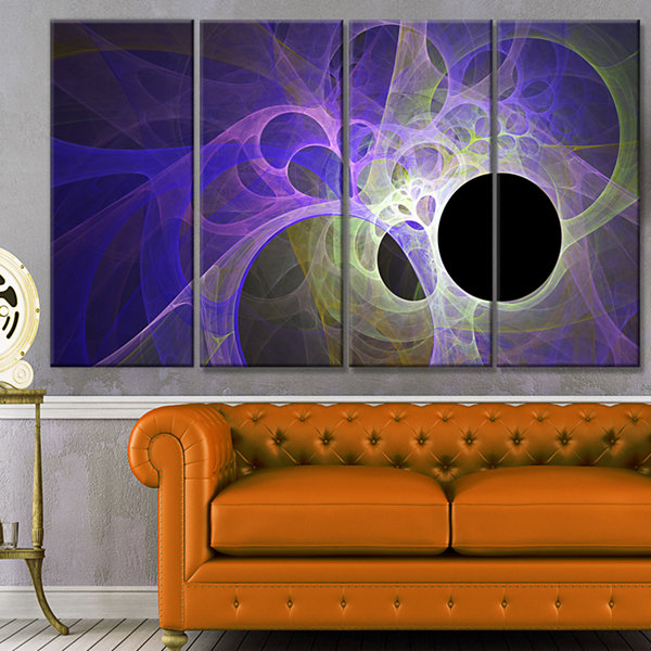 Designart Blue Fractal Angel Wings Abstract WallArt Canvas- 4 Panels