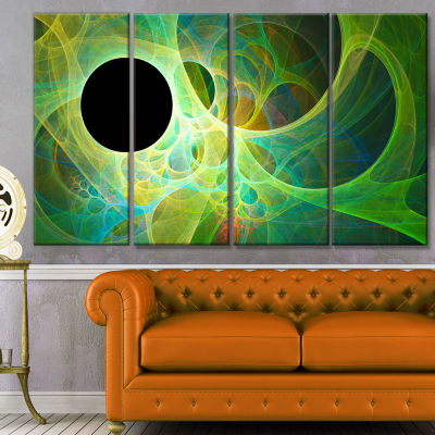 Green Fractal Angel Wings Abstract Wall Art Canvas- 4 Panels