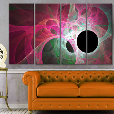 Pink Fractal Angel Wings Abstract Wall Art Canvas- 4 Panels