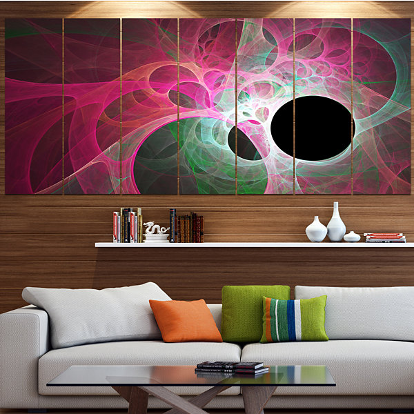 Designart Pink Fractal Angel Wings Abstract WallArt Canvas- 6 Panels