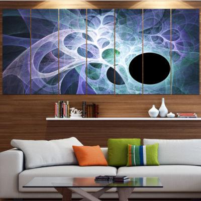Designart Light Blue Fractal Angel Wings Contemporary Wall Art Canvas - 5 Panels
