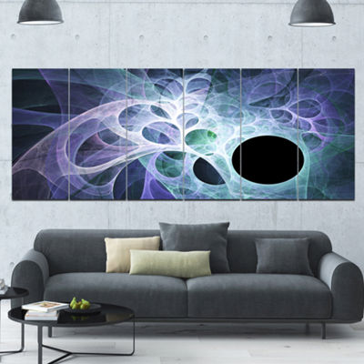 Designart Light Blue Fractal Angel Wings AbstractWall Art Canvas - 6 Panels