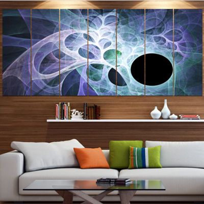 Designart Light Blue Fractal Angel Wings AbstractWall Art Canvas - 7 Panels