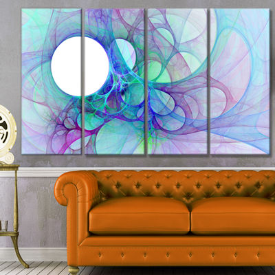 Designart Clear Blue Fractal Angel Wings AbstractWall Art Canvas - 4 Panels