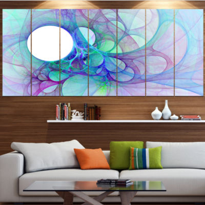 Clear Blue Fractal Angel Wings Contemporary Wall Art Canvas - 5 Panels
