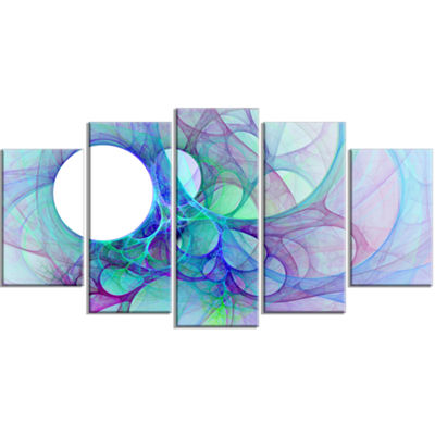 Designart Clear Blue Fractal Angel Wings Contemporary Wall Art Canvas - 5 Panels