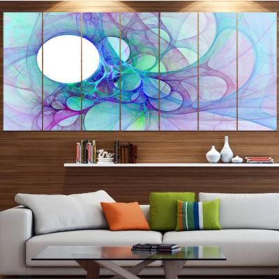 Designart Clear Blue Fractal Angel Wings AbstractWall Art Canvas - 5 Panels