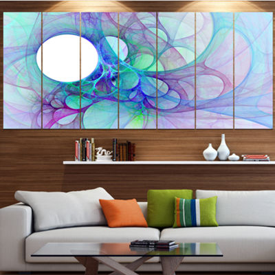 Designart Clear Blue Fractal Angel Wings AbstractWall Art Canvas - 6 Panels