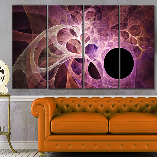 Designart Fractal Angel Wings In Pink Abstract Wall Art Canvas - 4 Panels