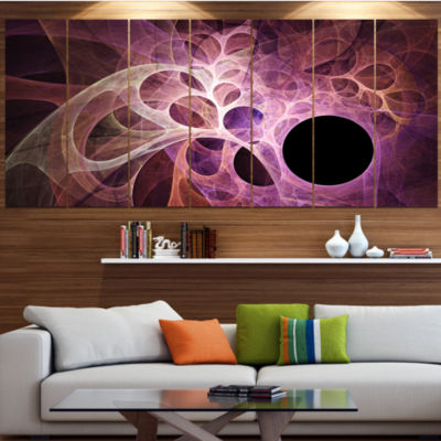 Design Art Fractal Angel Wings In Pink Abstract Wall Art Canvas - 5 Panels