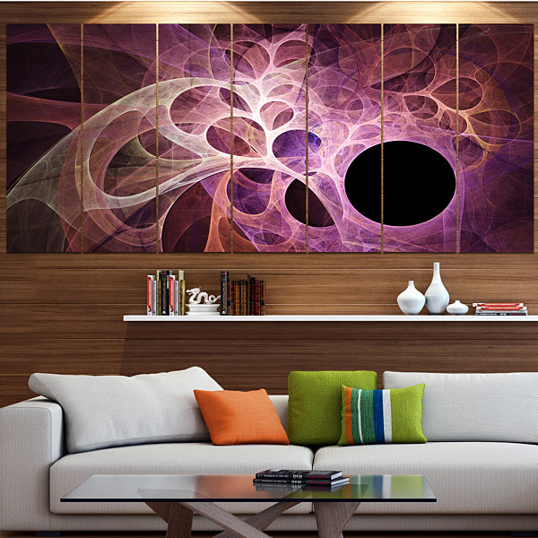 Designart Fractal Angel Wings In Pink Abstract Wall Art Canvas - 7 Panels
