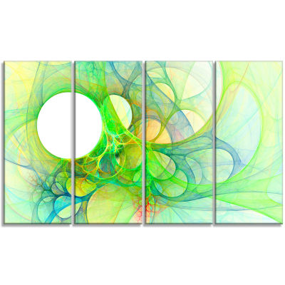 Fractal Angel Wings In Green Abstract Wall Art Canvas - 4 Panels