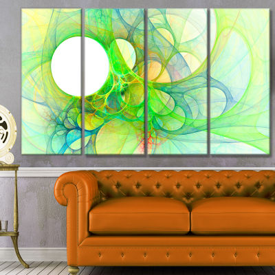 Designart Fractal Angel Wings In Green Abstract Wall Art Canvas - 4 Panels