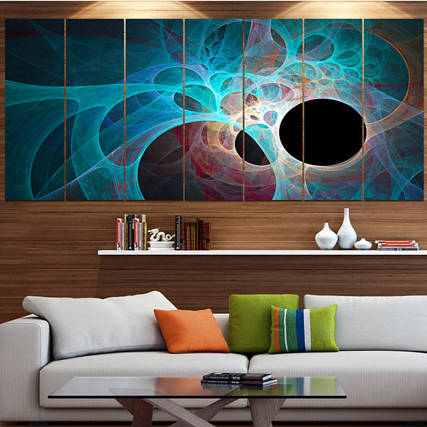 Design Art Fractal Angel Wings In Blue Abstract Wall Art Canvas - 5 Panels