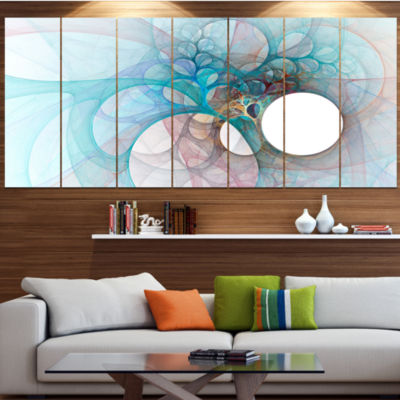 Designart Fractal Angel Wings In Light Blue Abstract Wall Art Canvas - 4 Panels