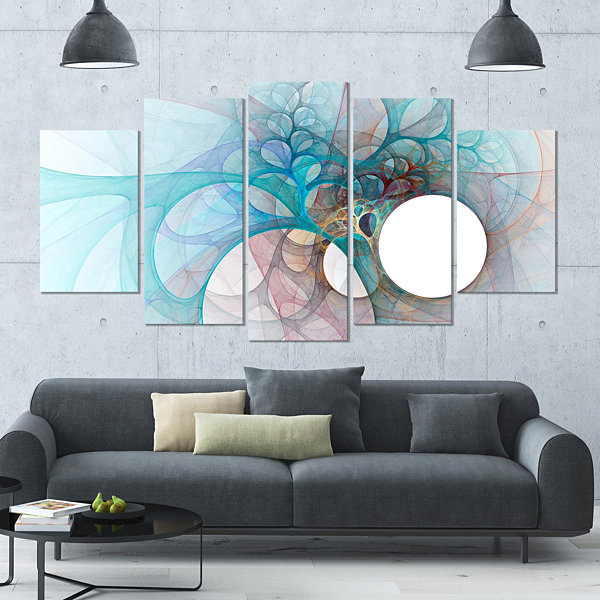Designart Fractal Angel Wings In Light Blue Contemporary Wall Art Canvas - 5 Panels