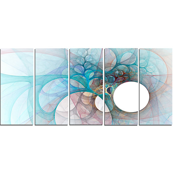 Design Art Fractal Angel Wings In Light Blue Abstract Wall Art Canvas - 5 Panels