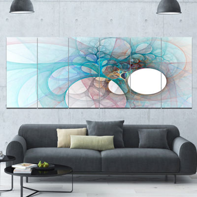 Designart Fractal Angel Wings In Light Blue Abstract Wall Art Canvas - 6 Panels
