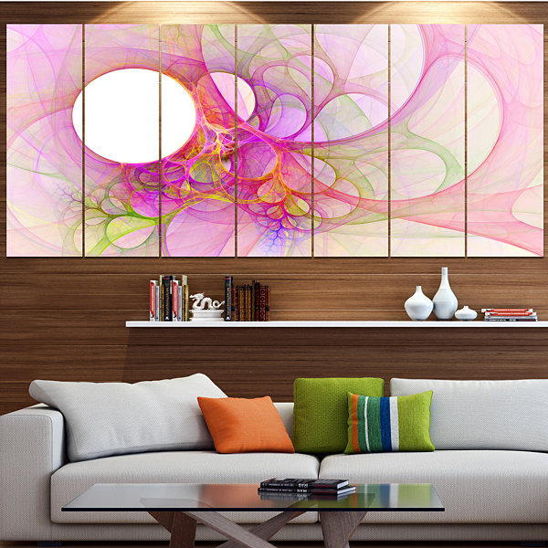 Designart Light Pink Angel Wings On White Contemporary Wall Art Canvas - 5 Panels