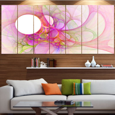 Designart Light Pink Angel Wings On White AbstractWall Art Canvas - 6 Panels