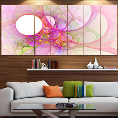 Designart Light Pink Angel Wings On White AbstractWall Art Canvas - 7 Panels