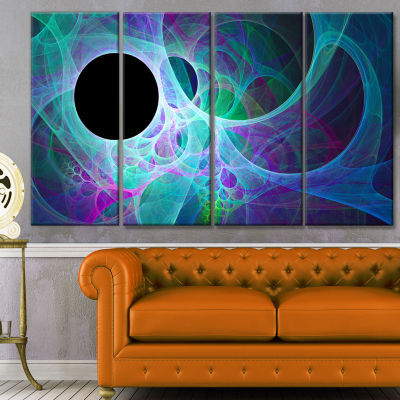 Blue Angel Wings On Black Abstract Wall Art Canvas- 4 Panels