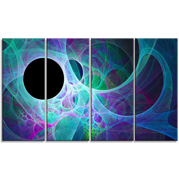Designart Blue Angel Wings On Black Abstract WallArt Canvas- 4 Panels