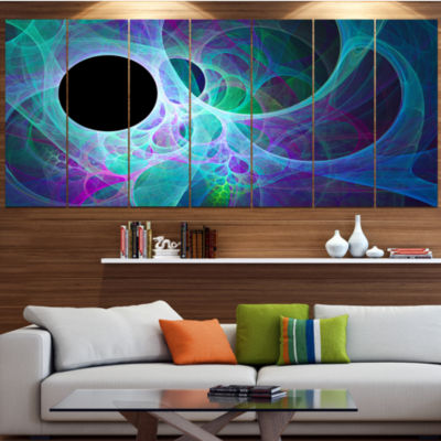 Blue Angel Wings On Black Abstract Wall Art Canvas- 6 Panels