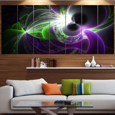 Design Art Glowing Purple Green Plasma Abstract Wall Art Canvas - 4 Panels