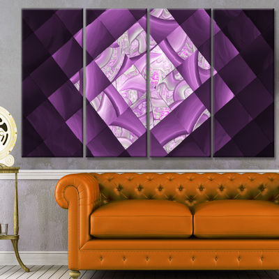 Purple Pixel Field Of Squares Abstract Wall Art Canvas - 4 Panels