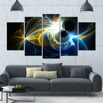Designart Glowing Blue Yellow Plasma ContemporaryWall Art Canvas - 5 Panels